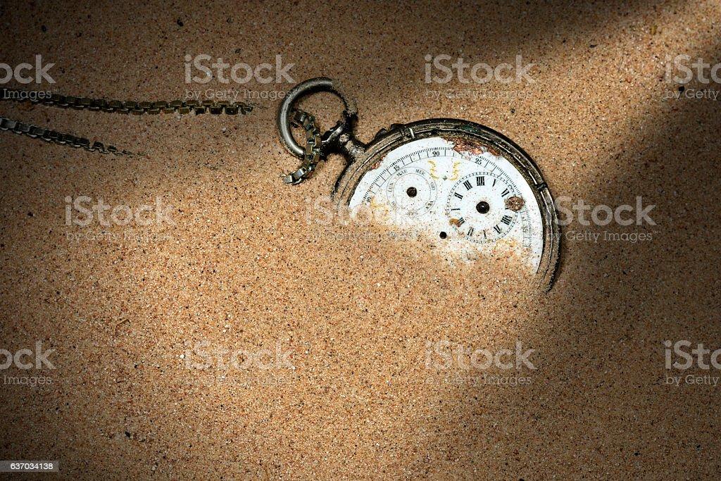 Broken Pocket Watch in the Sand stock photo