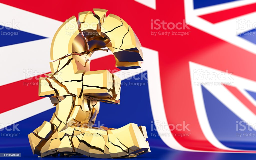 BREXIT - broken pound sign - united kingdom flag stock photo