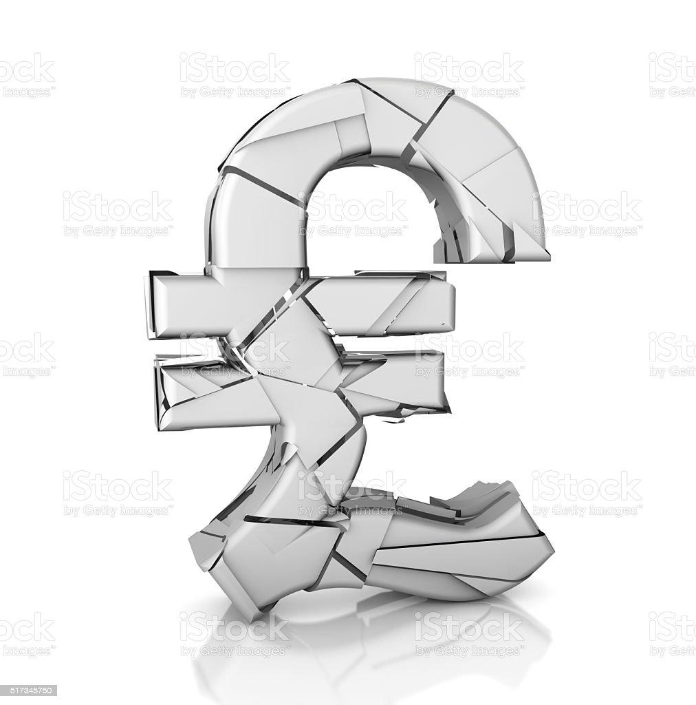 Broken Pound Symbol stock photo