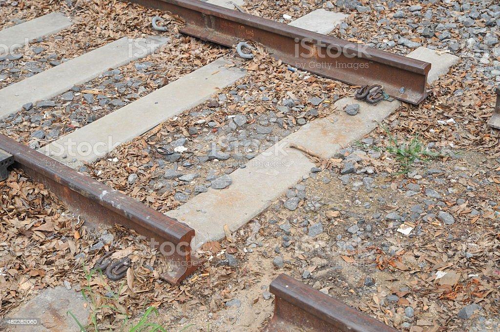 Broken railroad tracks stock photo