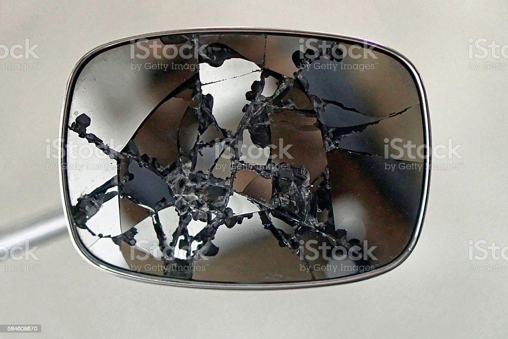 Broken rear view mirror stock photo