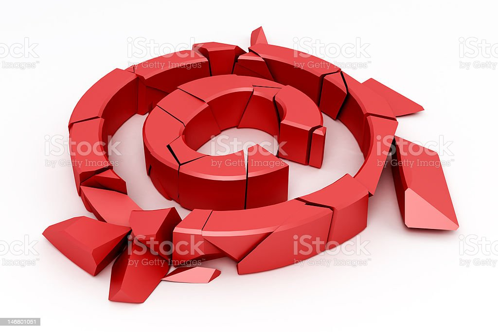 Broken red copyright sign royalty-free stock photo