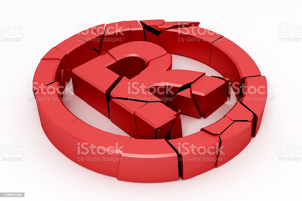 A broken red copyright sign with a R in a circle royalty-free stock photo
