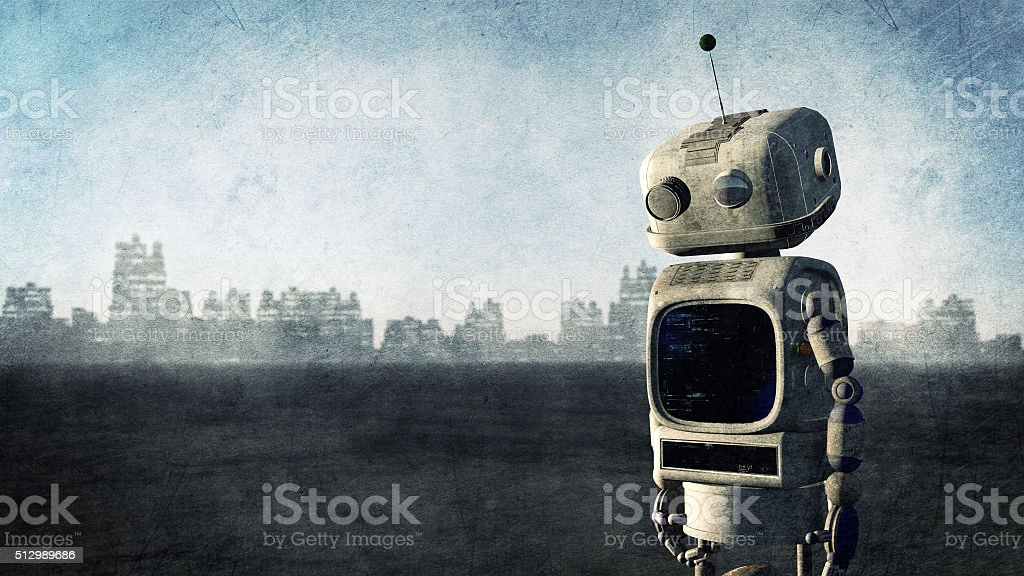 Broken robot before a destroyed city stock photo