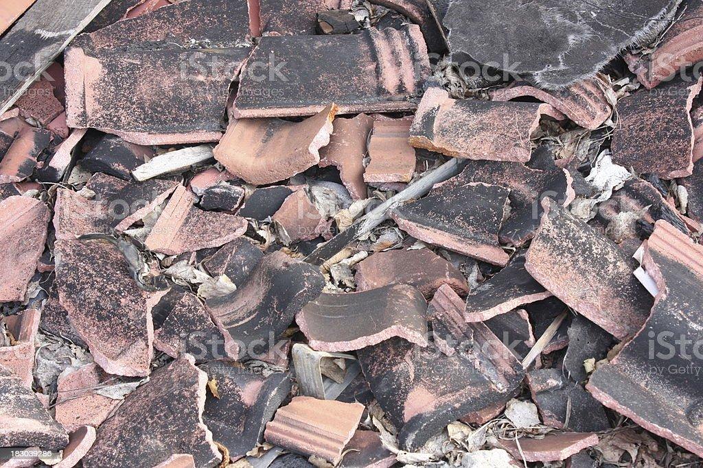 broken roof tile stock photo
