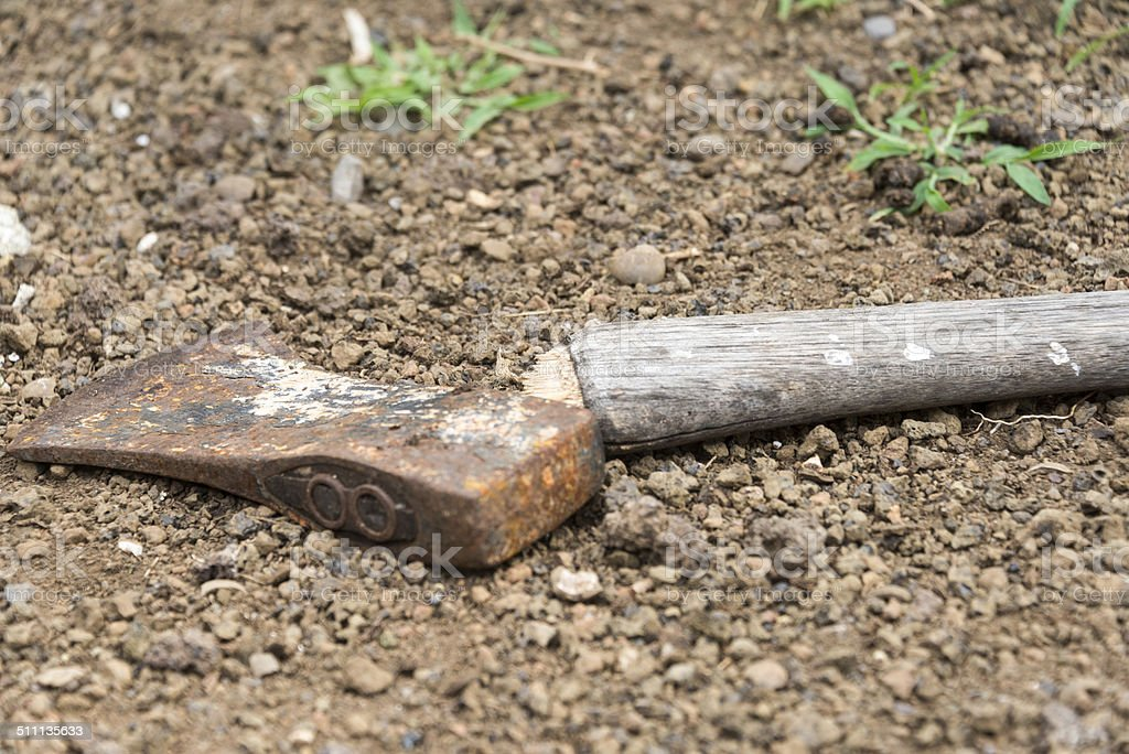 Broken Rusty Axe stock photo