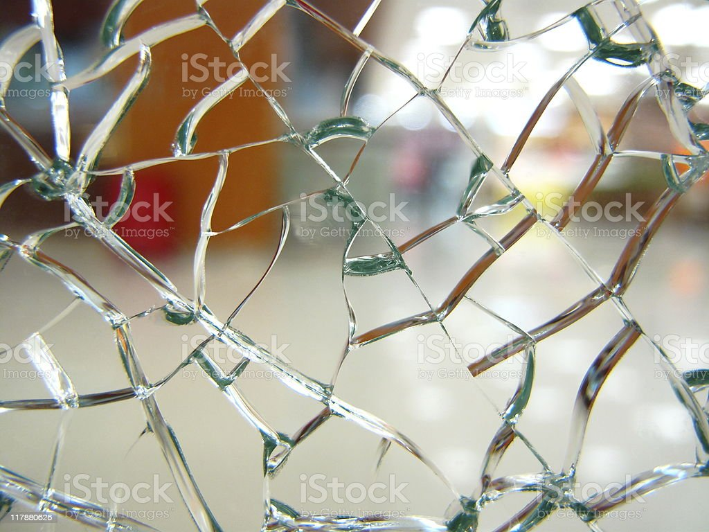 broken safety glass (series) stock photo