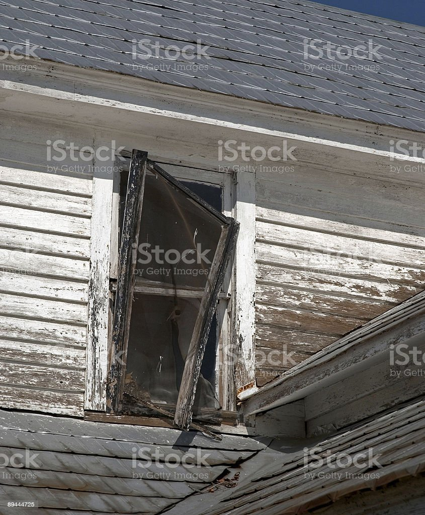 Broken Screen in Old Farm House royalty-free stock photo