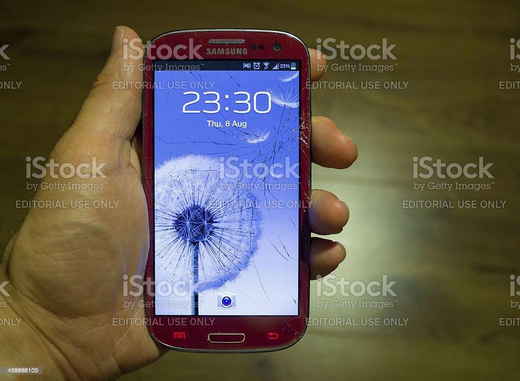 Broken screen on a Samsung S3 royalty-free stock photo