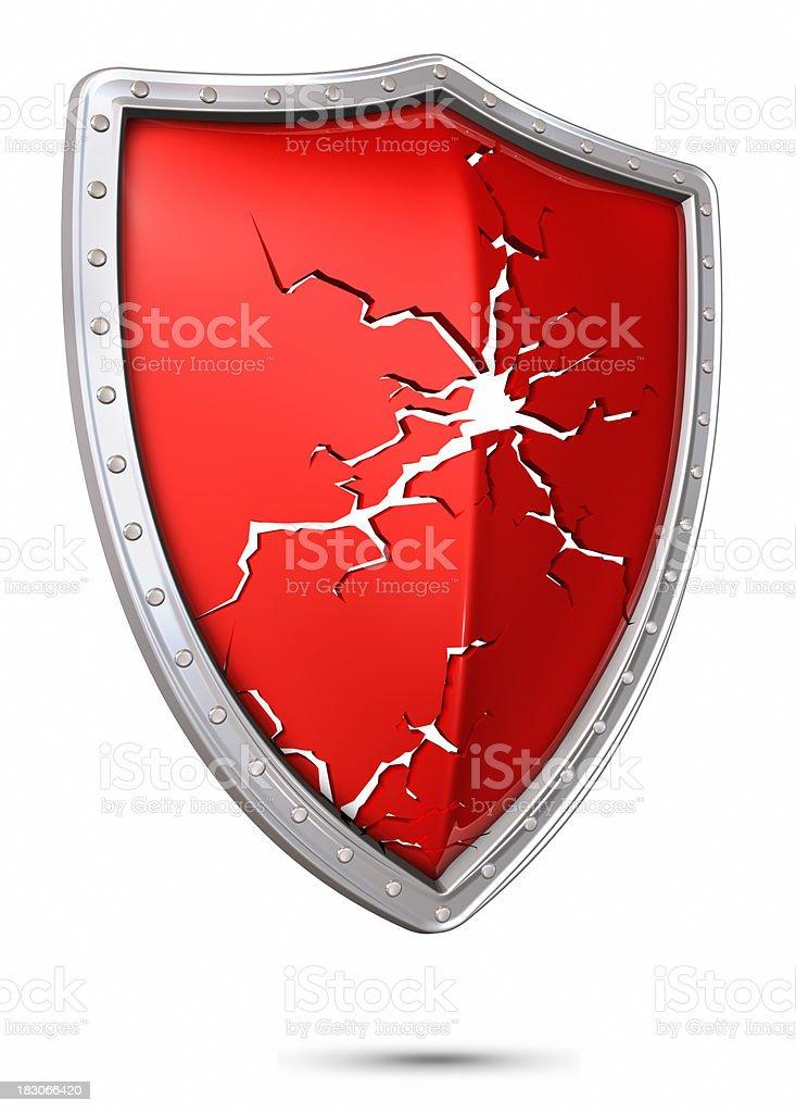 Broken shield stock photo