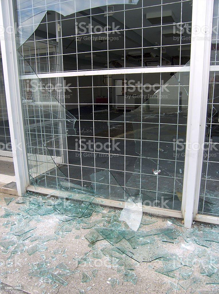 Broken shop window royalty-free stock photo