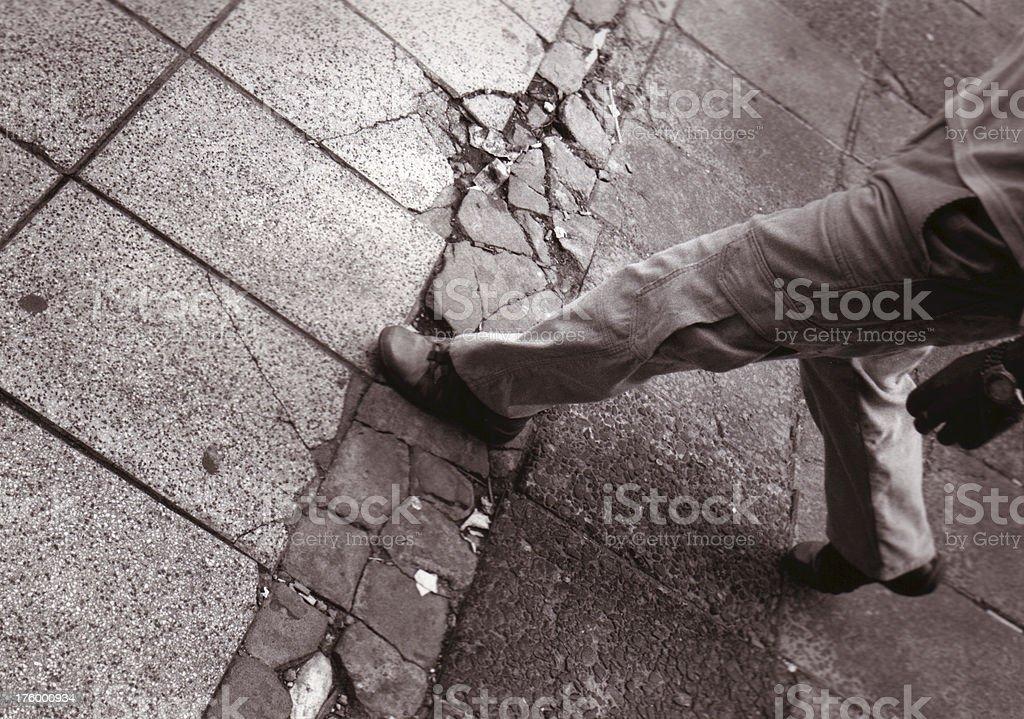 broken sidewalk stock photo