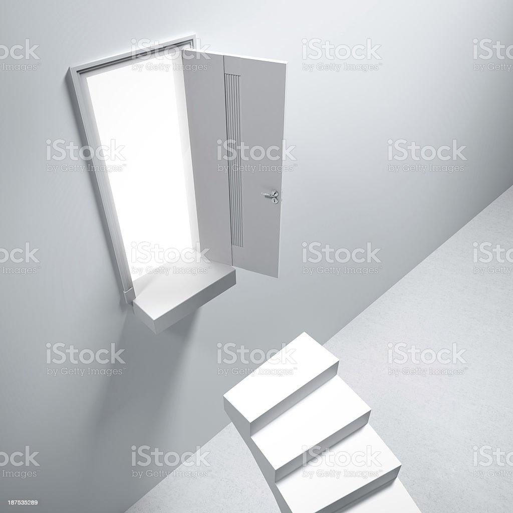 Broken stair and door royalty-free stock photo