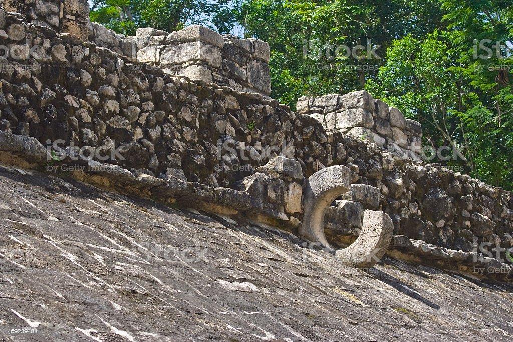 broken stone loop used in mayan ball game stock photo