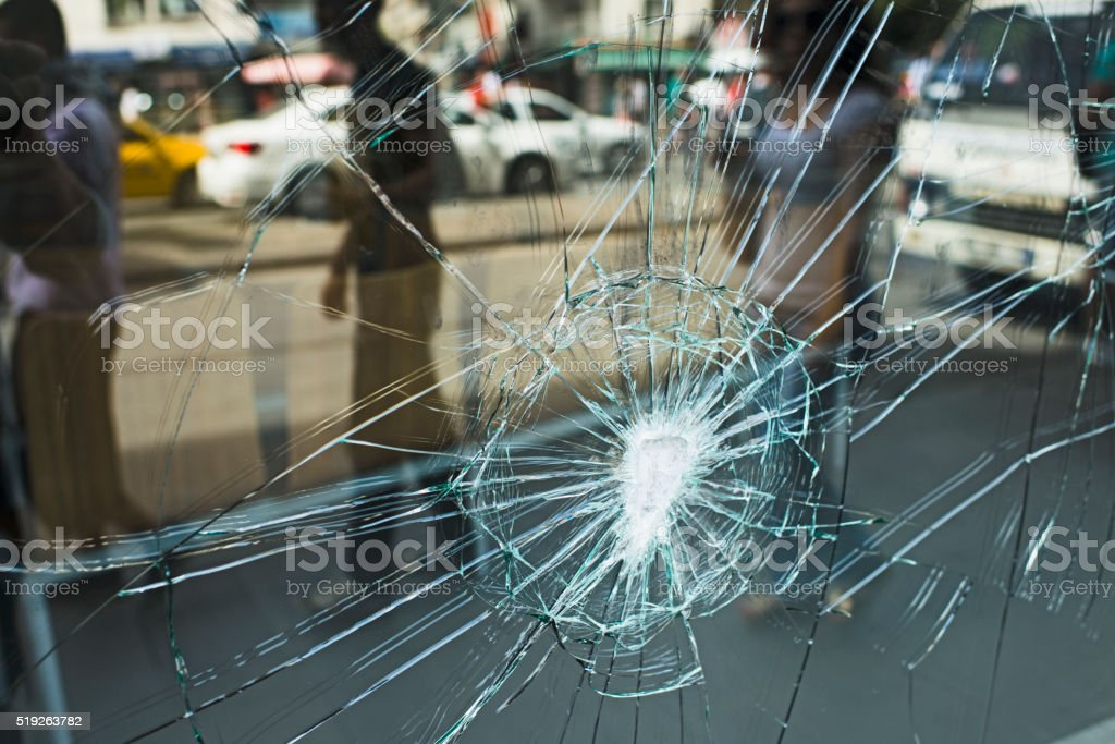 Broken Store Window stock photo