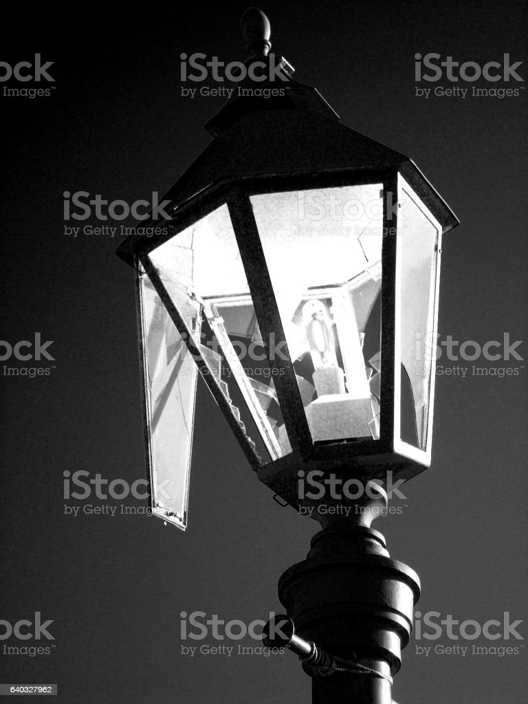 Broken street lamp stock photo