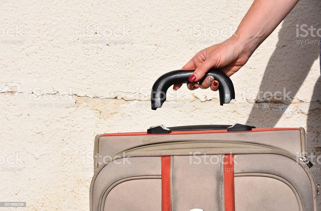 Broken suitcase handle,  failure Concept stock photo