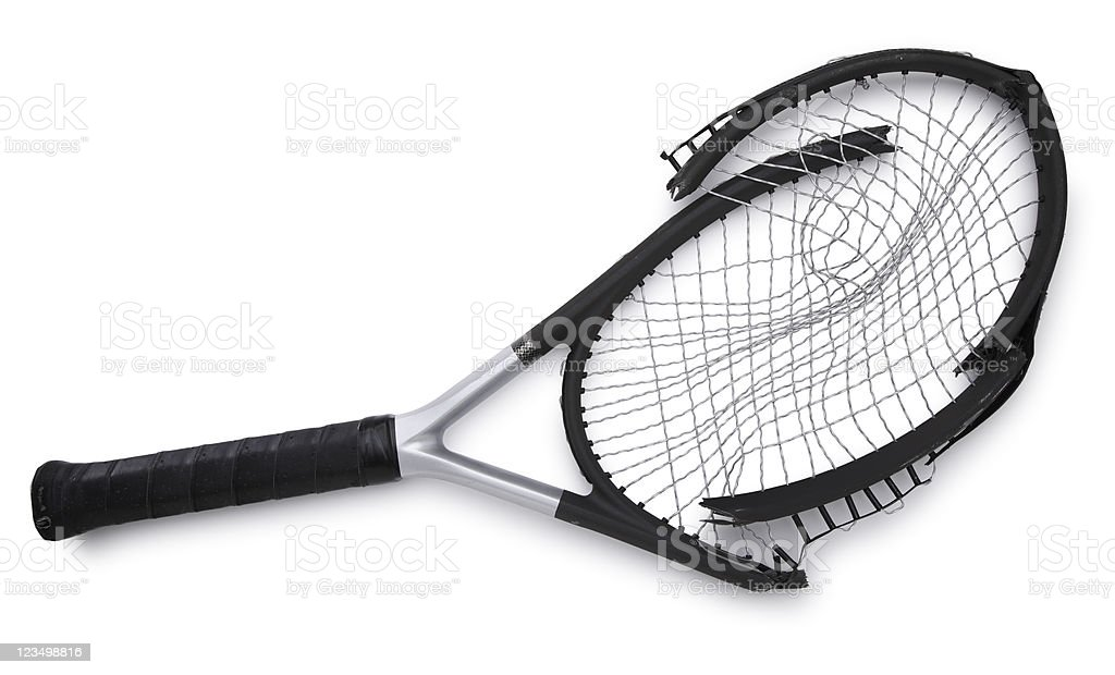 Broken Tennis Racket Isolated on White royalty-free stock photo