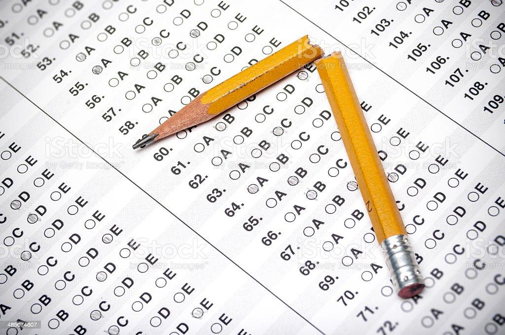 Broken test pencil stock photo