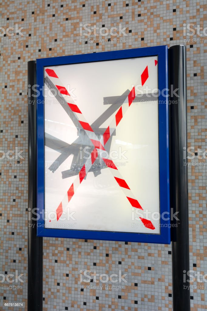 Broken time table display on new station stock photo