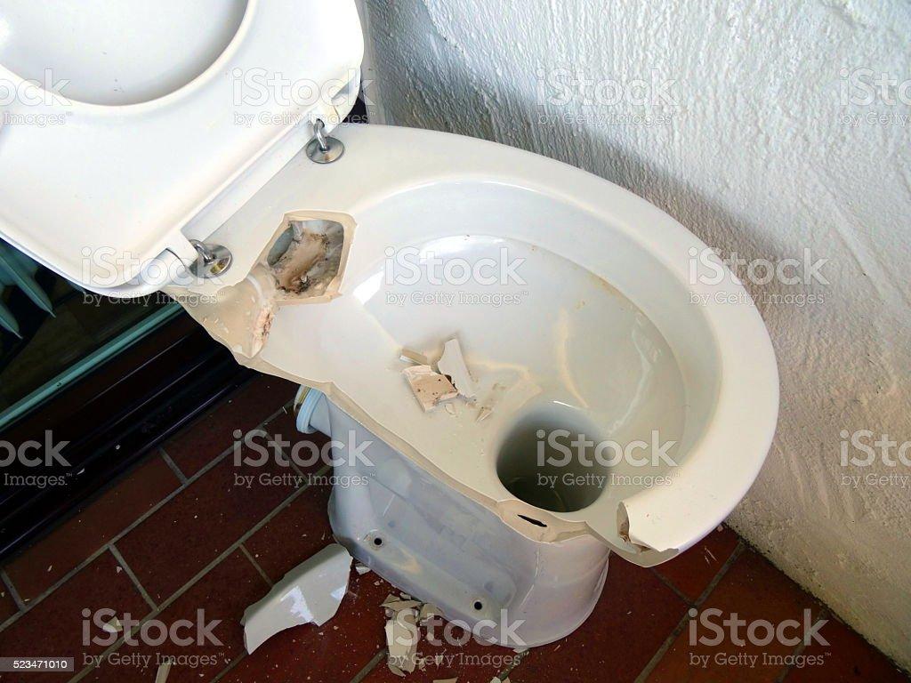 Broken Toilet stock photo
