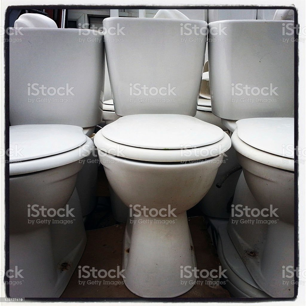 Broken toilets royalty-free stock photo