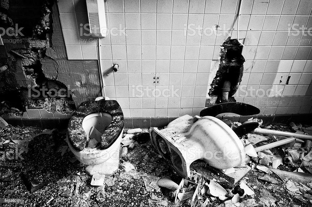 Broken Toilets stock photo