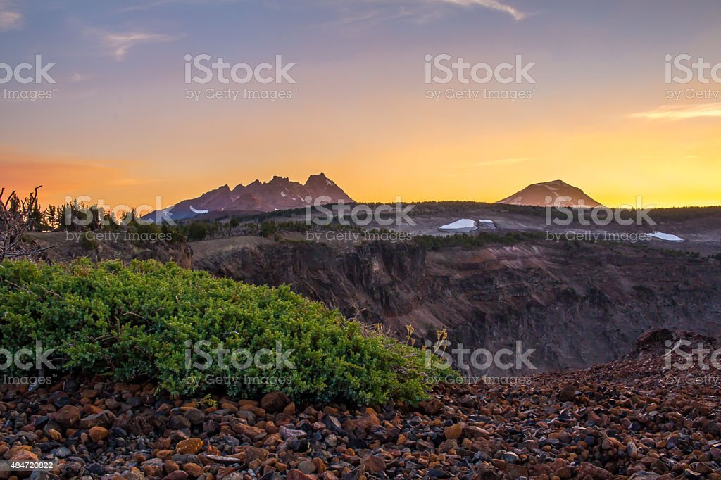 Broken Top and South Sister, Oregon, at Sunset stock photo