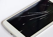 broken touch screen of white mobile phone