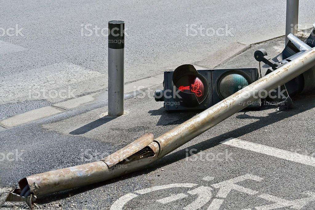 Broken traffic light stock photo