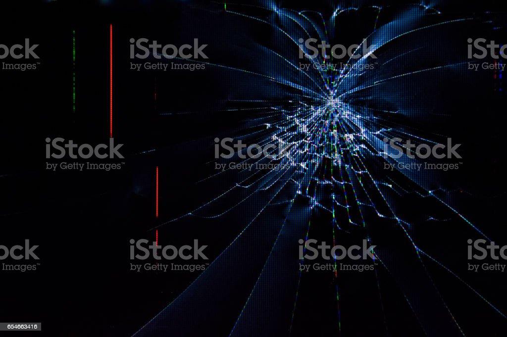 Broken TV screen stock photo