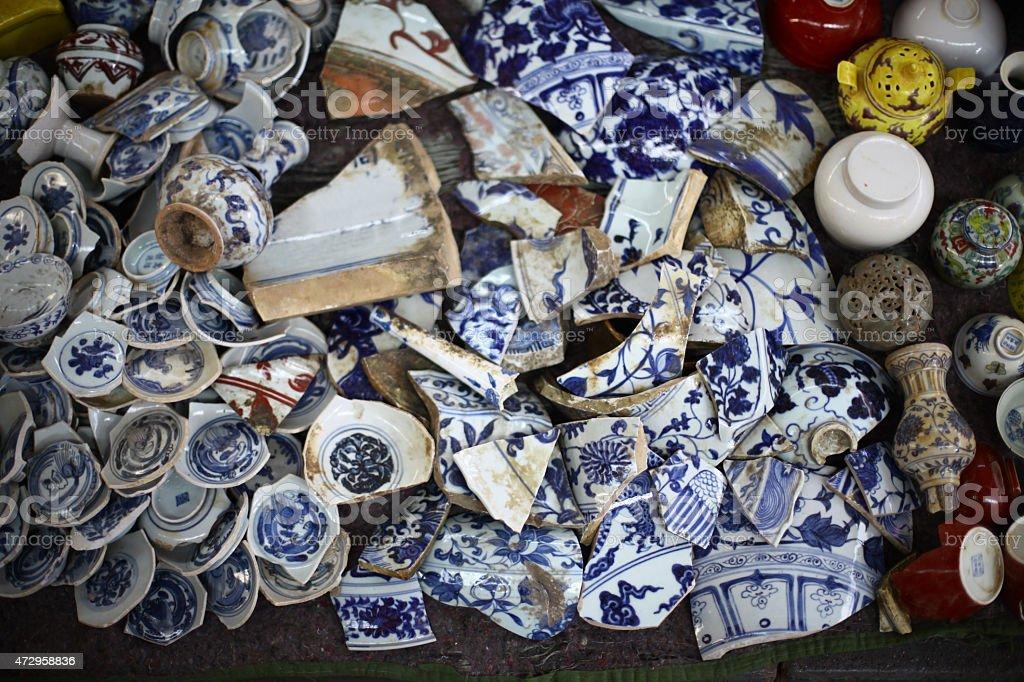 Broken vases stock photo