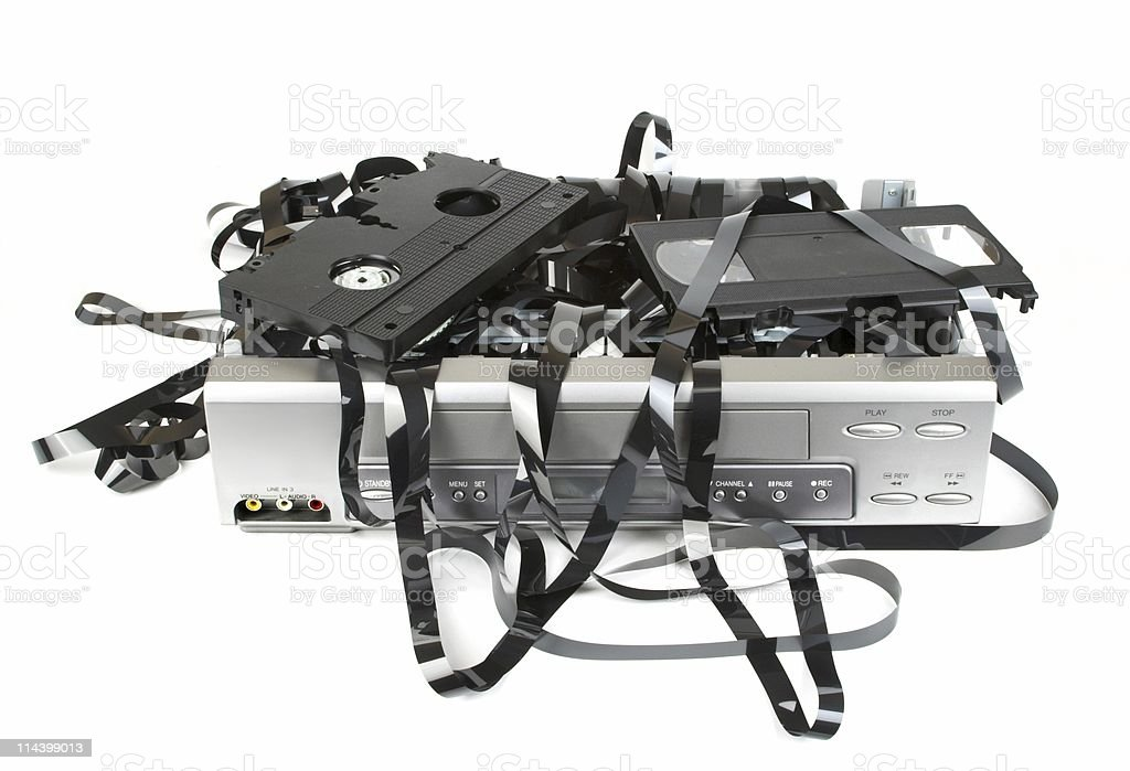 Broken VCR And Tape royalty-free stock photo