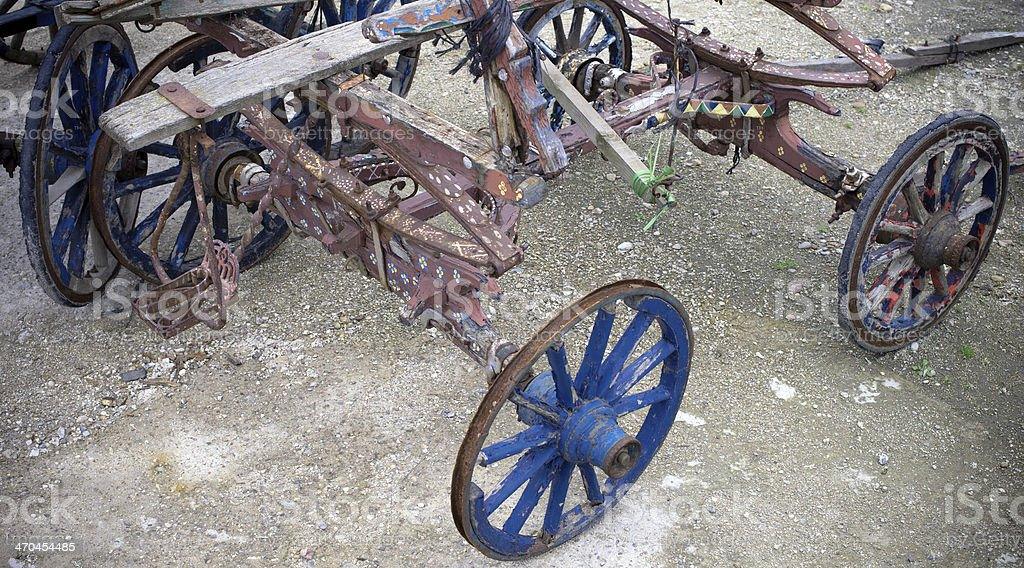 Broken wagon and wheels royalty-free stock photo