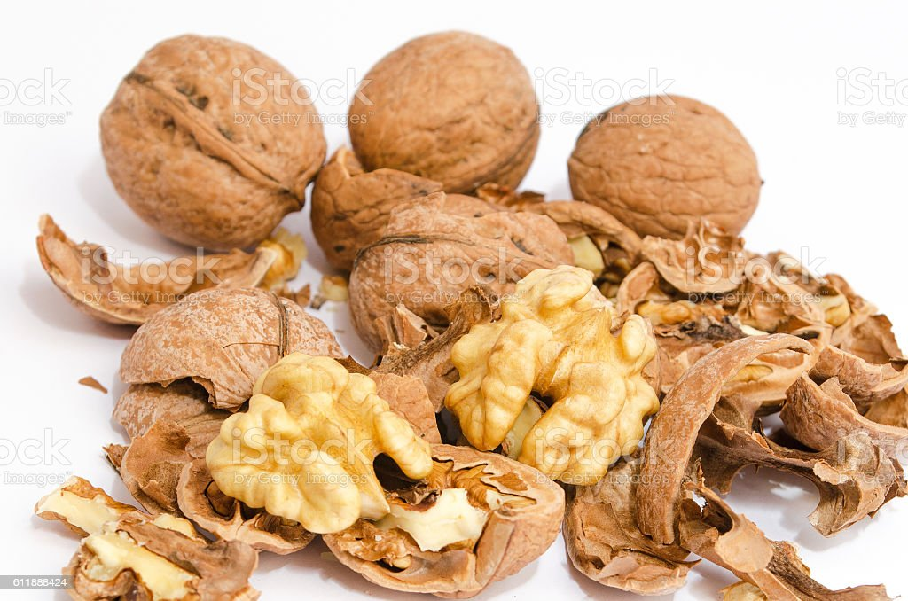 Broken Walnuts isolated royalty-free stock photo