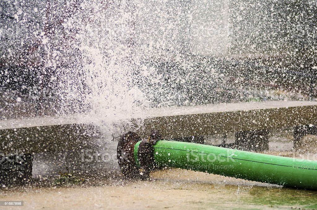Broken Water Main stock photo