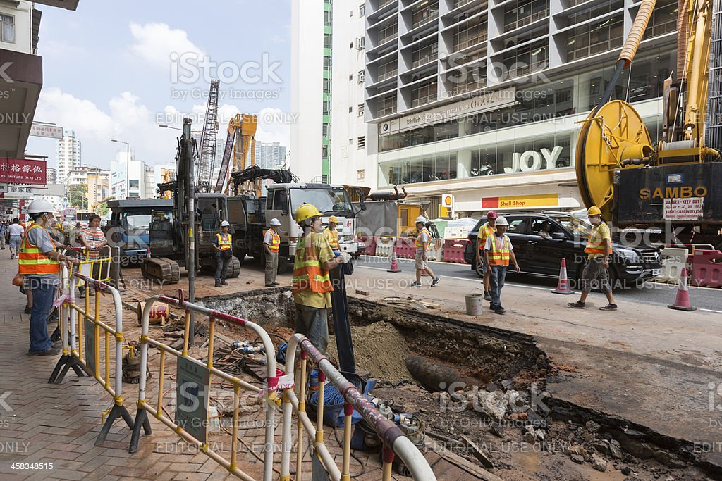 Broken Water Pipe in Hong Kong royalty-free stock photo
