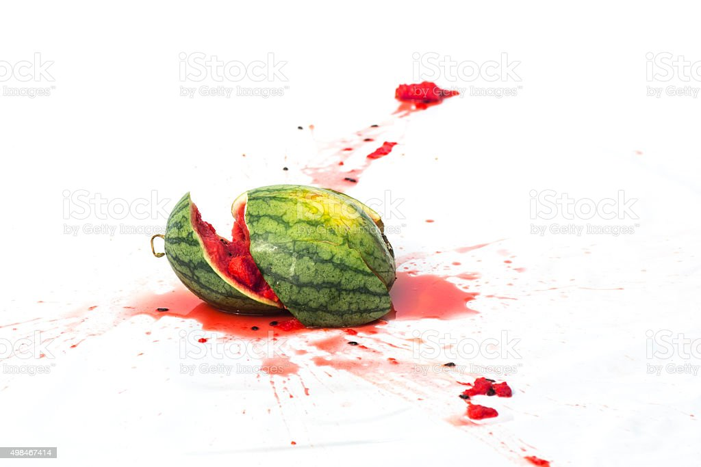 broken watermelon on white background stock photo