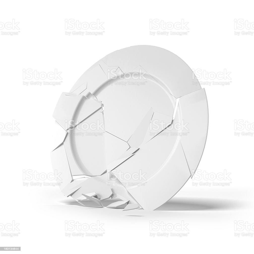 Broken white plate stock photo