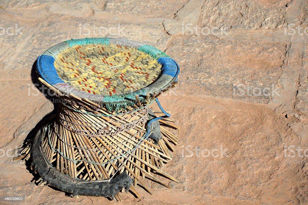 Broken wicker stool. Pelkhor Chode-Kumbum pagoda. Gyantse-Tibet. 1639 stock photo