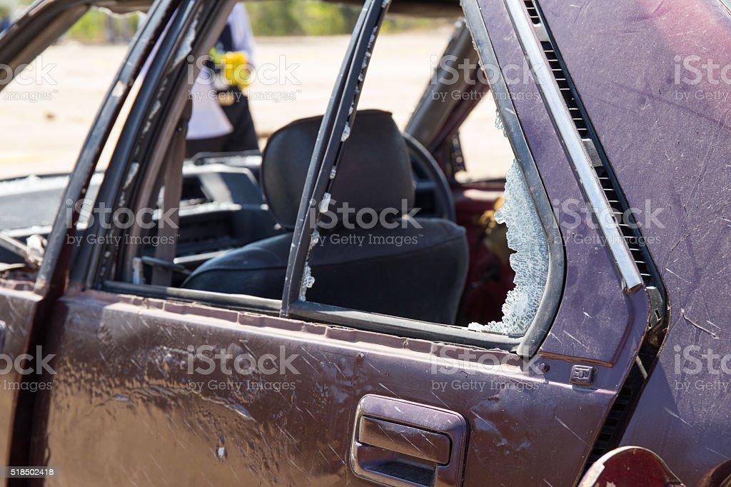 broken window car from car bomb in crime scene stock photo