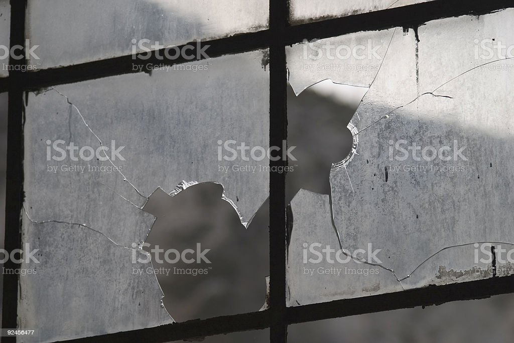 Broken window in a railway station royalty-free stock photo