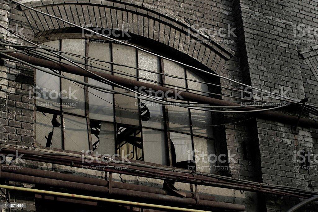 Broken window in factory stock photo