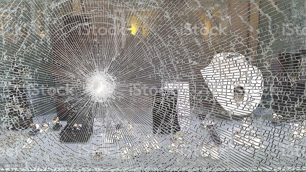 Broken window in jeweller's shop after raid stock photo
