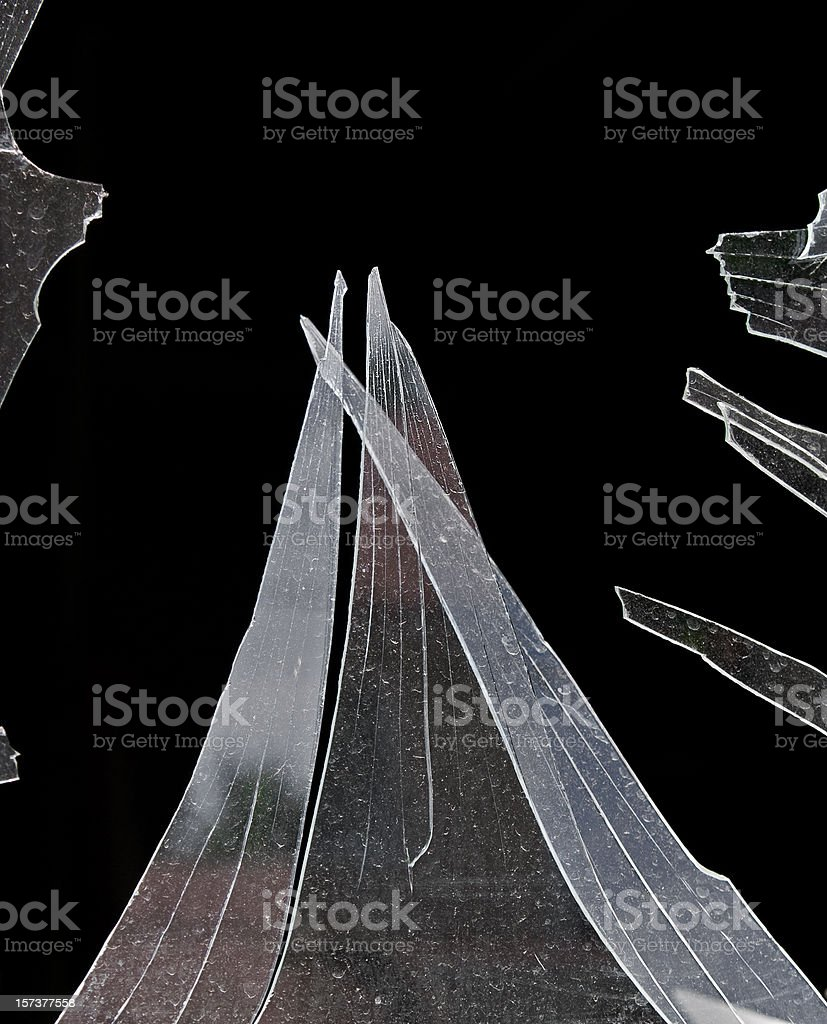 Broken WIndow Jagged Shards royalty-free stock photo