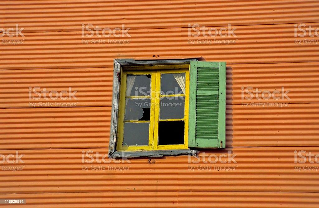 Broken Window on Caminito, Buenos Aires royalty-free stock photo