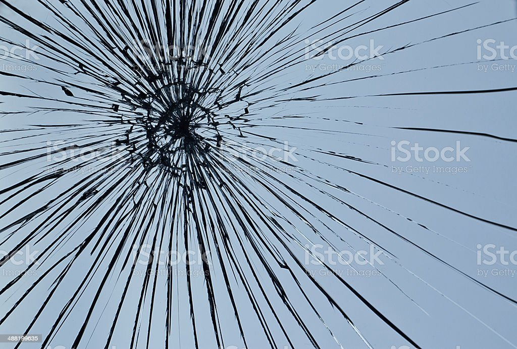 Broken window pane stock photo