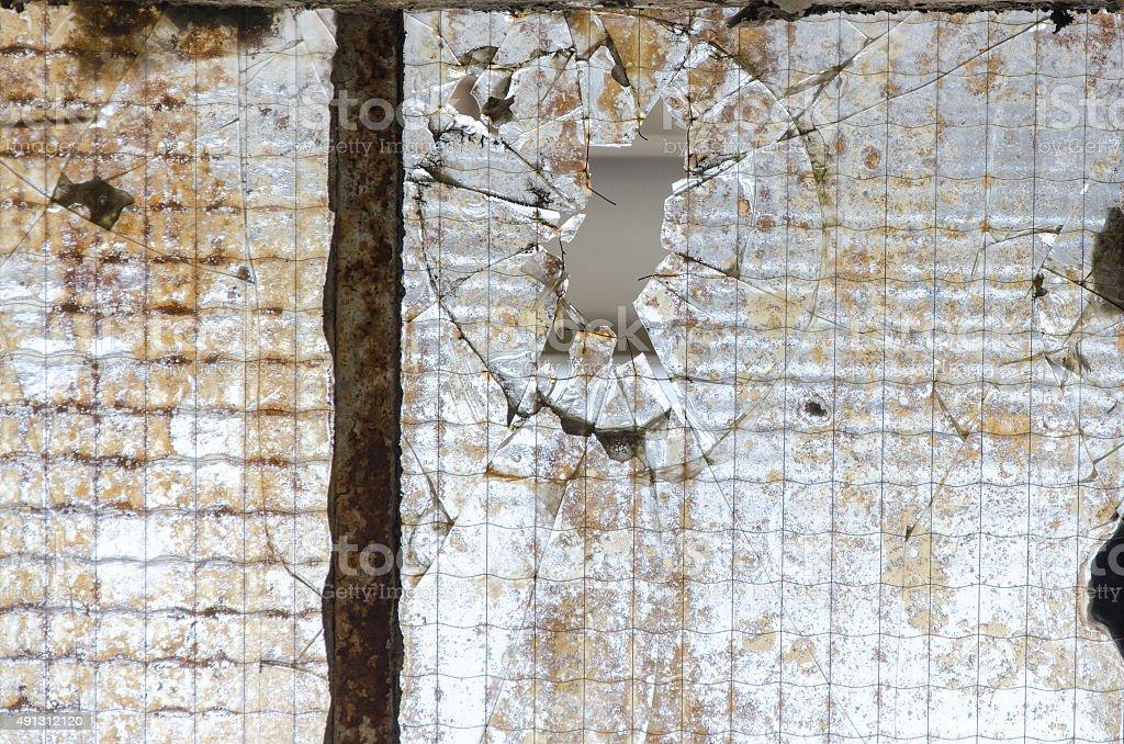 Broken window pane stock photo