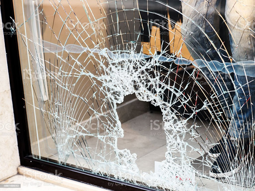 broken window stock photo