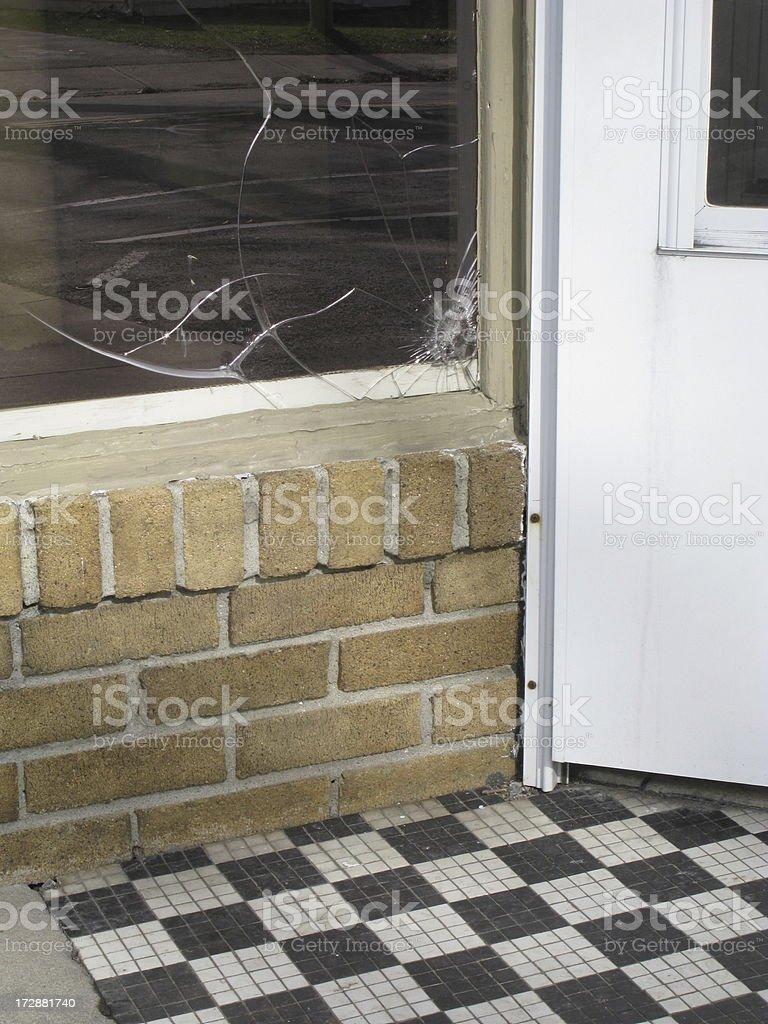 Broken Window Vandalism Crime stock photo